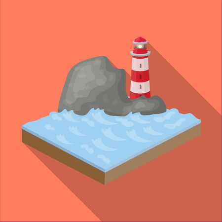 relievo: Mountains,lighthouse and Sea. Relief and mountains single icon in flat style isometric vector symbol stock illustration .