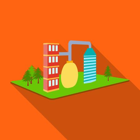 Verwerking fabriek. Fabriek en industrie één pictogram in vlakke stijl isometrische vector symbool stock illustratie. Vector Illustratie