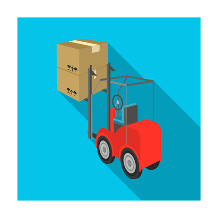 hauling: Cargo transportation by means of a loader. Transportation and delivery single icon in flat style isometric vector symbol stock illustration .