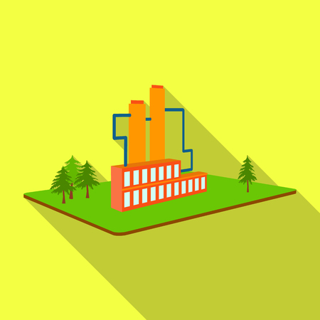 Processing factory. Factory and industry single icon in flat style isometric vector symbol stock illustration .