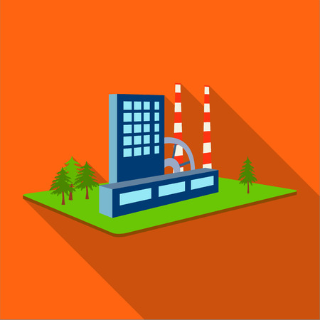 Verwerking fabriek. Fabriek en industrie één pictogram in vlakke stijl isometrische vector symbool stock illustratie.