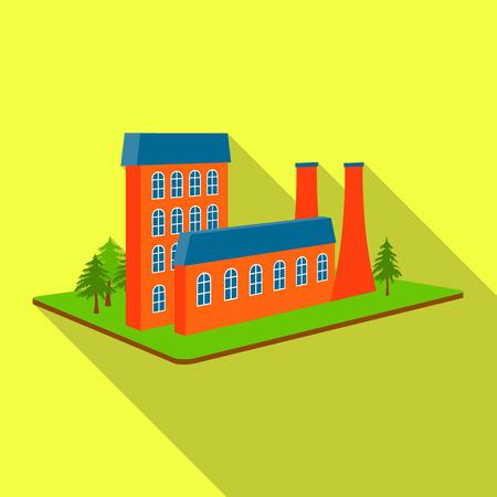 Verwerkende fabriek. Fabrieks-en industrie enkele pictogram in platte stijl isometrische vector symbool stock illustratie.