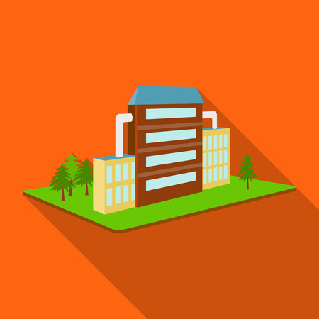 premises: Processing factory. Factory and industry single icon in flat style isometric vector symbol stock illustration .