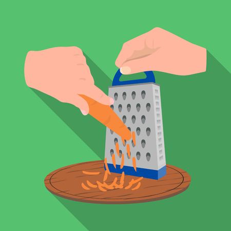 metal grater: Grater, single icon in flat style.Grater, vector symbol stock illustration . Illustration