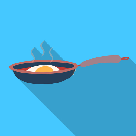 Frying pan, single icon in flat style.Frying pan vector symbol stock illustration .