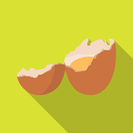 壊れた卵。Egg.and 単一フラット スタイル ベクトル シンボル ストック イラストのアイコンを調理します。