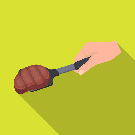 Fried piece of meat on the scapula. Food and cooking single icon in flat style vector symbol stock illustration .