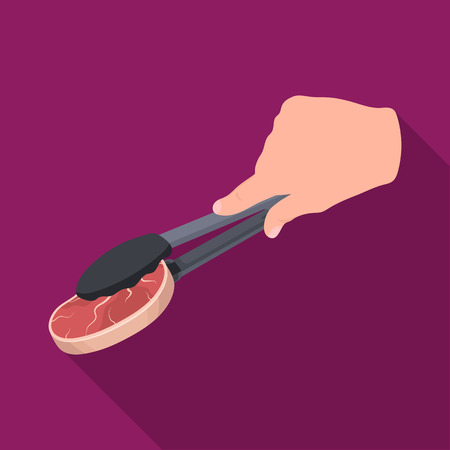 Tongs with raw steak. Eating and cooking single icon in flat style vector symbol stock illustration .