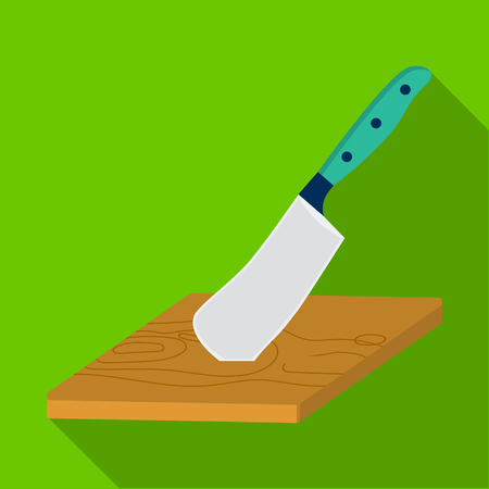 Board and cleaver for food processing. Food and cooking single icon in flat style vector symbol stock illustration .