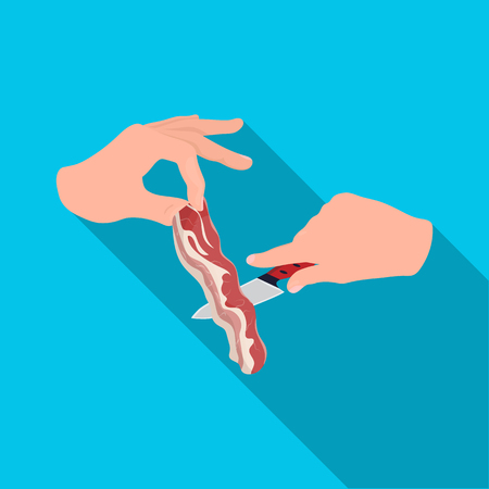 Cooking from bacon. Bacon and cooking single icon in flat style vector symbol stock illustration . Illustration