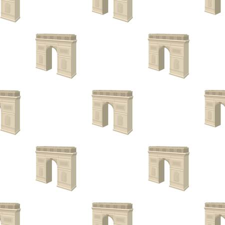 パリの凱旋門。アーチ建物単一漫画スタイルのベクトル シンボル ストック イラスト web のアイコン。  イラスト・ベクター素材