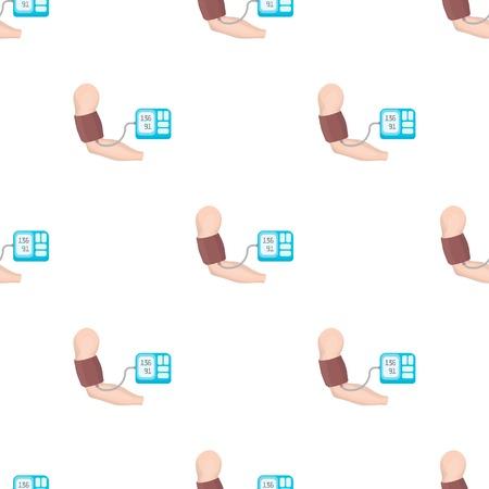 Mesure de la pression artérielle avec un tonomètre. Médecine seule icône en vecteur de bande dessinée style symbole stock illustration web. Banque d'images - 84806923