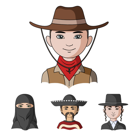 A mexican, a jew, a woman from the middle east, an american. The human race set collection icons in cartoon style vector symbol stock illustration . Illustration