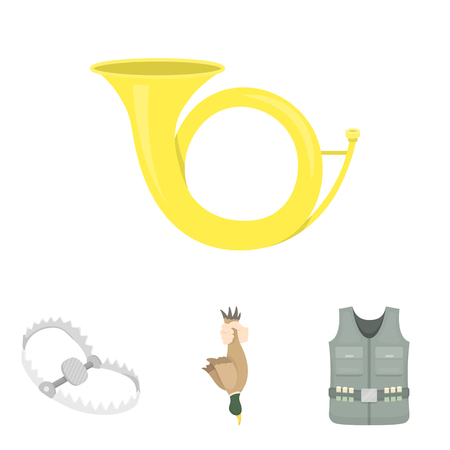 A trophy in his hand, a steel trap, a hunting vest with patronage, a horn..Hunting set collection icons in cartoon style vector symbol stock illustration web.