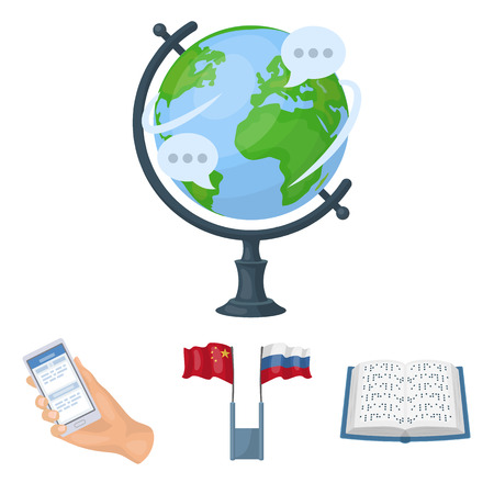 Two flags, a book for the blind, a hand with a phone with translated text, a globe of the Earth. Interpreter and translator set collection icons in cartoon style vector symbol stock illustration web. Ilustração