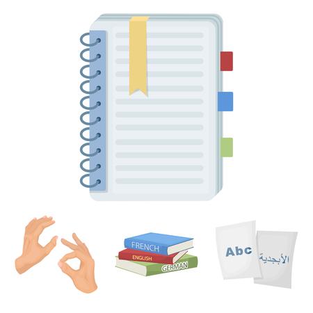 Een stapel boeken in verschillende talen, vellen papier met vertaling, een gebaar van dove demonen, een notitieboekje met tekst. Tolk en vertaler set collectie iconen in cartoon stijl vector symbool stock illustratie web.