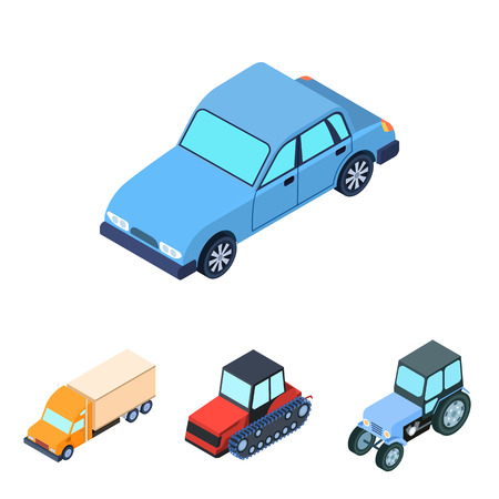 Tractor, caterpillar tractor, truck, car. Transport set collection icons in cartoon style vector symbol stock illustration web. Illustration