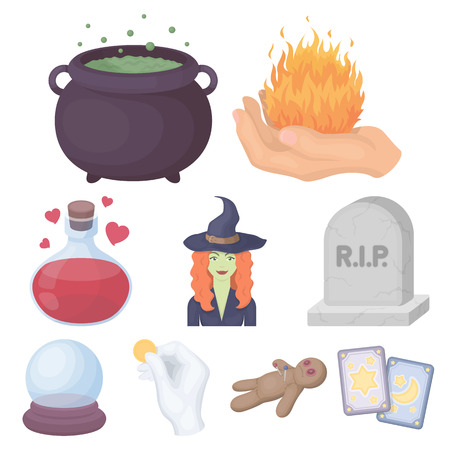 Set di icone di magia in bianco e nero in stile cartoon. Grande collezione di stock di simbolo di vettore magia bianco e nero Vettoriali
