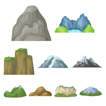 Set of icons about different mountains. Winter, summer mountains in one collection.Different mountains icon in set collection on cartoon style vector symbol stock illustration.