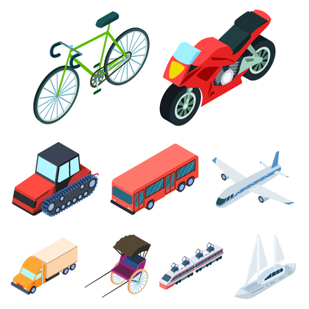 water bus: Land, water, air transport. Machines that people use.Transportation icon in set collection on cartoon isometric style vector symbol stock illustration.