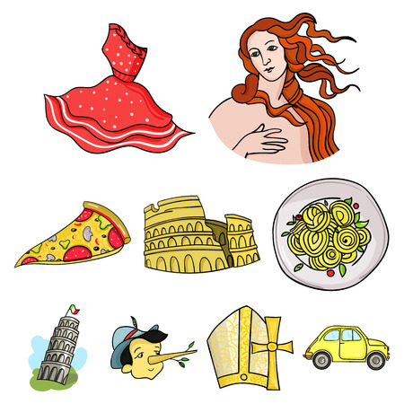 Italy country set icons in cartoon style. Big collection of Italy country vector symbol stock illustration