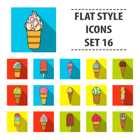 Ice cream set icons in flat style. Big collection of ice cream vector symbol stock illustration