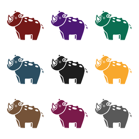 big foot: Rhinoceros icon in black style isolated on white background. Animals symbol vector illustration. Illustration