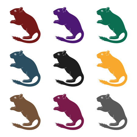 Gray gerbil.Animals single icon in black style vector symbol stock illustration web. Illustration