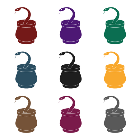 Snake in basket icon in black style isolated on white background. Arab Emirates symbol vector illustration. Illustration