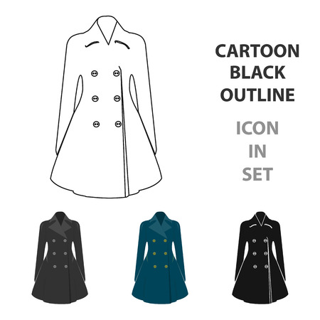 Blue female restrained coat buttoned. Womens outerwear..Woman clothes single icon in cartoon style vector symbol stock illustration.