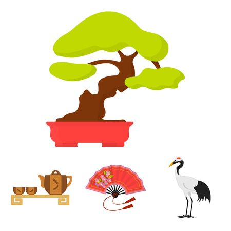 Fan, red crown crane, tea ceremony, bonsai.Japan set collection icons in cartoon style vector symbol stock illustration . Illustration