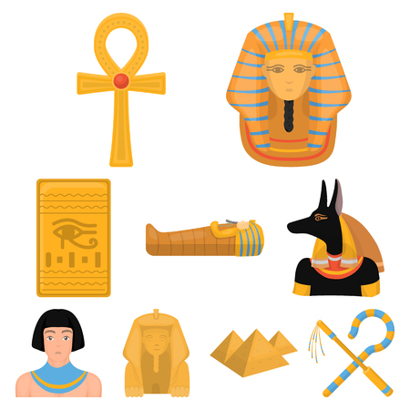 Ancient Egypt set icons in cartoon style. Big collection of ancient Egypt vector symbol stock