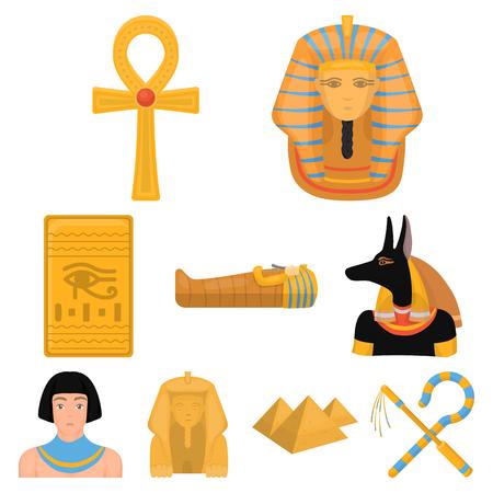Ancient Egypt set pictogrammen in cartoon stijl. Grote verzameling van het oude Egypte vector symbool stock Stockfoto - 84890386