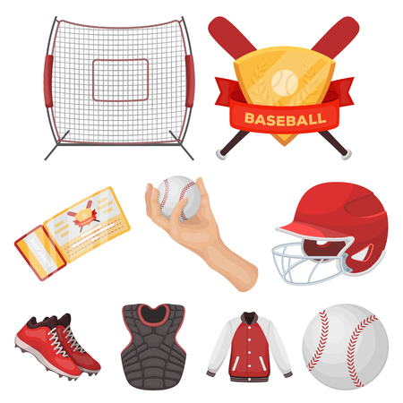 Ball, helmet, bat, uniform and other baseball attributes. Baseball set collection icons in cartoon style vector symbol stock illustration . Illustration