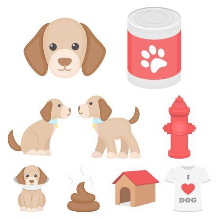 Dog equipment set icons in cartoon style. Big collection dog equipment vector symbol stock illustration Ilustração