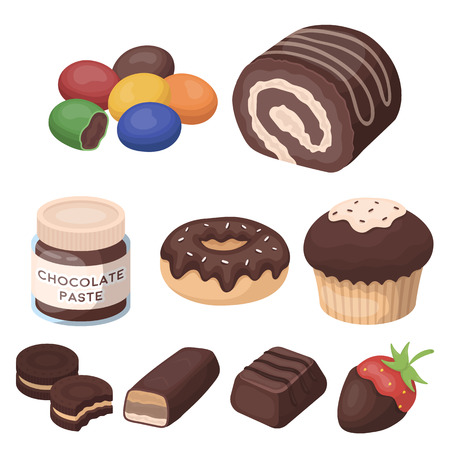 A set of chocolate sweets. Chocolate products for people. Chocolate desserts icon in set collection on cartoon style vector symbol stock illustration.