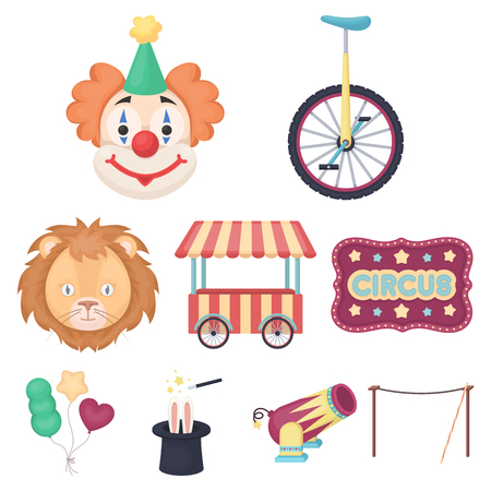 Circus set icons in cartoon style. Big collection of circus vector symbol stock illustration