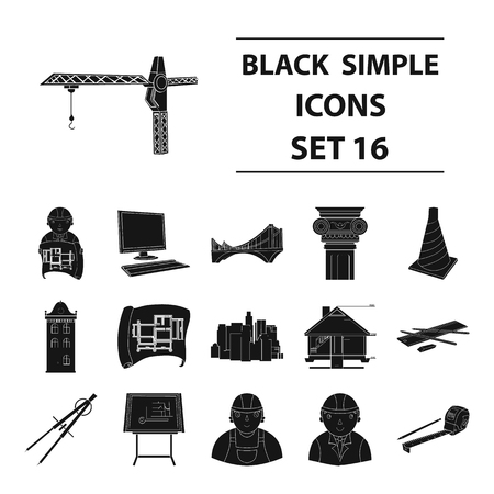 Architect set icons in black style. Big collection of architect vector symbol stock illustration