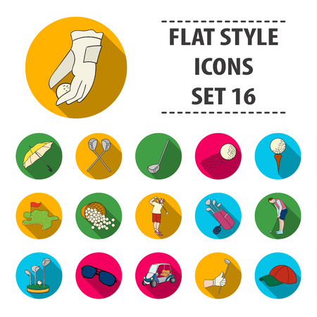 Golf club set icons in flat style. Big collection of golf club vector symbol stock illustration Illustration