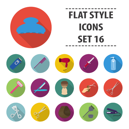 Hairdressery set icons in flat style. Big collection hairdressery vector symbol stock illustration