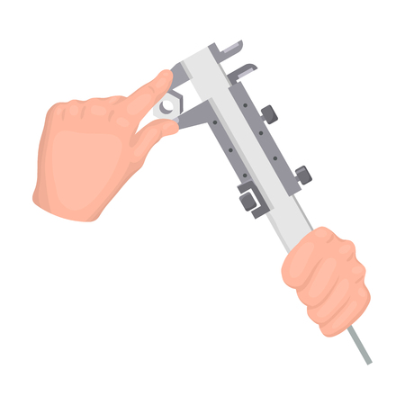 Manipulation with calipers. Measuring instrument, caliper single icon in cartoon style vector symbol stock illustration . Ilustracja