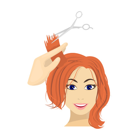 Hair cutting with scissors. Womens haircut single icon in cartoon style vector symbol stock illustration . Illustration
