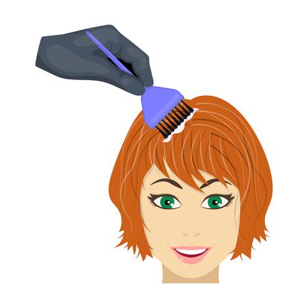 美容院で女性の髪の毛の染色。毛染め単一漫画スタイルのベクトル シンボル ストック イラストのアイコン。