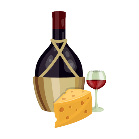 A bottle of alcohol, wine in a glass and cheese. Alcohol single icon in cartoon style vector symbol stock illustration .