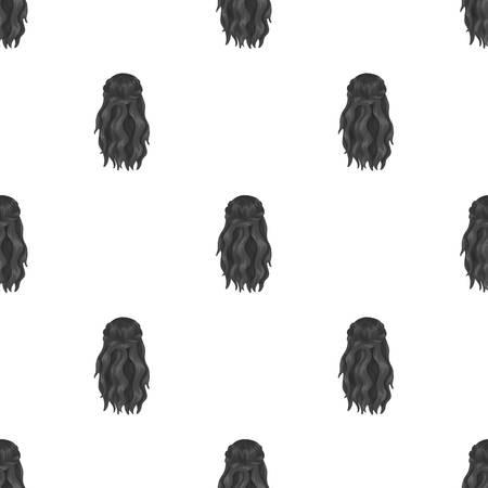 Black loose hair pattern. 向量圖像