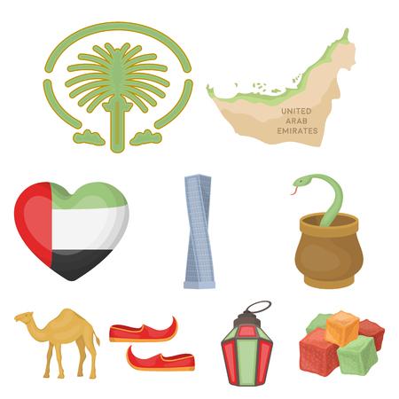 Arab Emirates set icons in cartoon style. Big collection of Arab Emirates vector symbol stock illustration