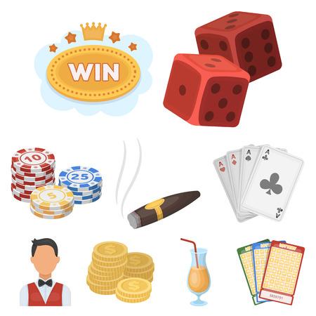 기호 카지노 게임의 집합입니다. 돈 도박. 칩, 도미노, 카지노. 카지노 및 도박 아이콘 집합에 만화 스타일 벡터 기호 재고 일러스트 레이 션. 스톡 콘텐츠 - 84979835