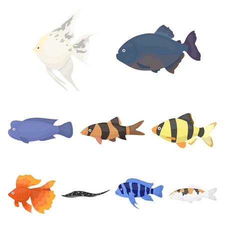 Set of aquarium fish icon.