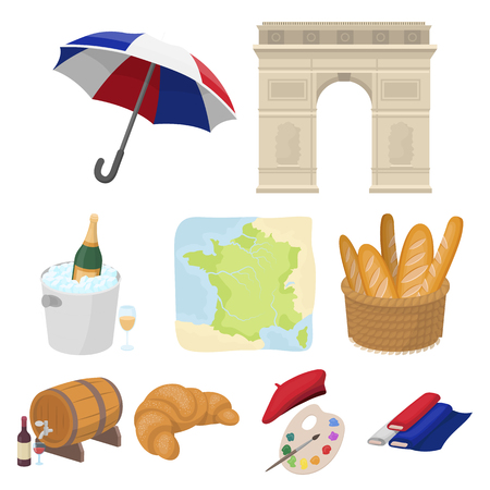 Set of attraction in France icons.