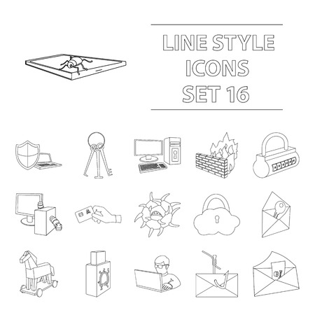 Hackers and hacking set icons in outline style. Illustration